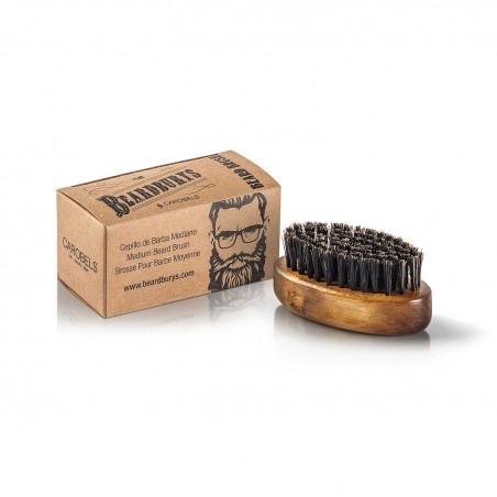 Cepillo de barba mediano con cerdas de jabali y nailon con caja