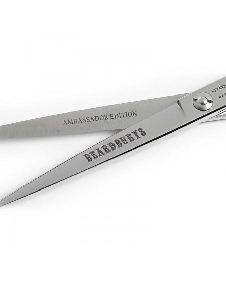 Tijera de peluquería Takimura Beardburys detalle logo