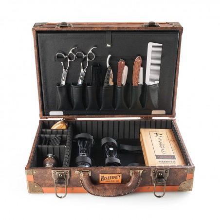maletín vintage de barbero beardburys abierto