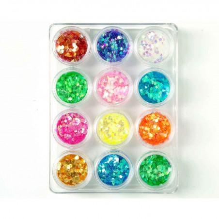 Decoración uñas Glitter Rainbow 3mm S